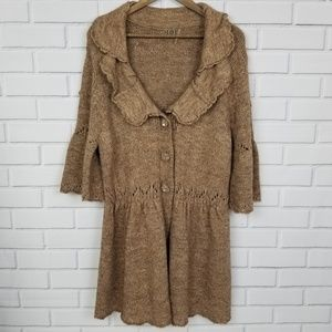 One Girl Who Brown 3/4 Sleeve Button Up Cardigan